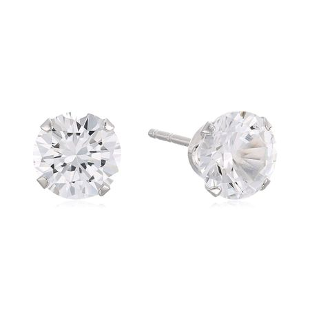 6.5 mm White Sapphire Stud Earrings