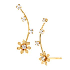 Daisy Climber Earrings with Cubic Zirconia