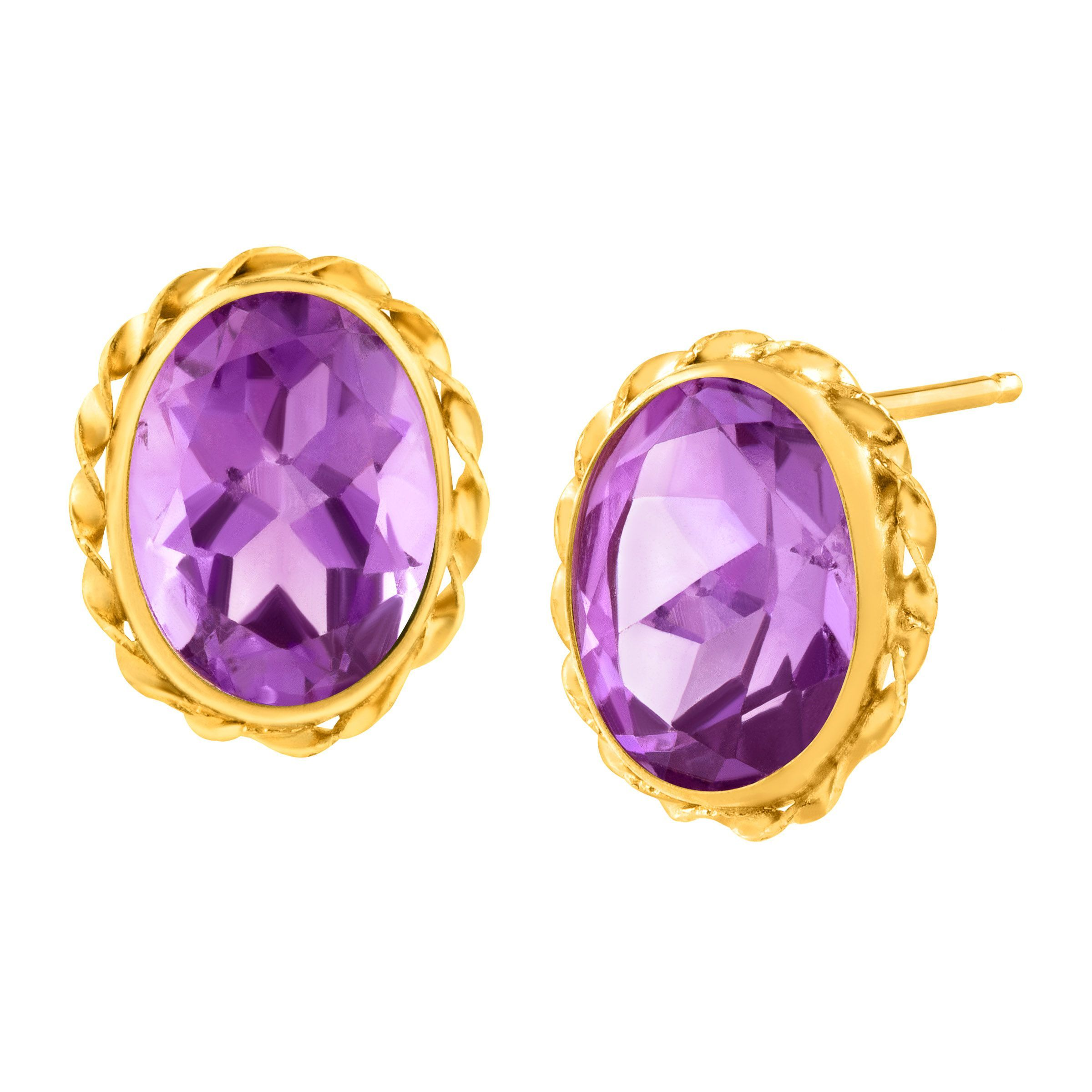 Button Earrings: 2 1/2 Ct Natural Amethyst Button Stud Earrings In 14K Gold