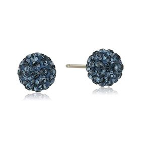 Ball Stud Earrings with Navy Swarovski Crystals