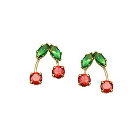Cherry Stud Earrings with Cubic Zirconia