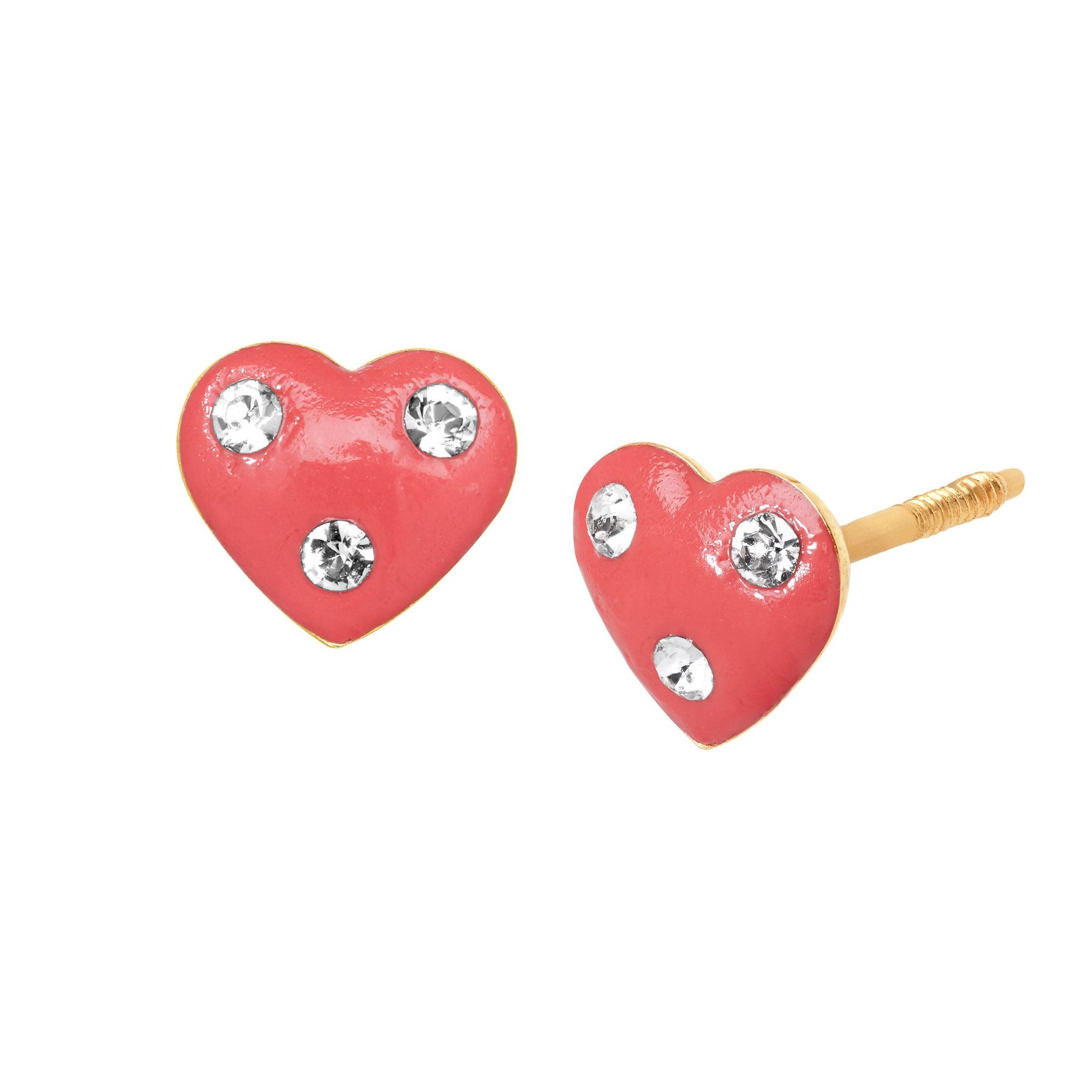 S Pink Heart Stud Earrings With Swarovski Crystals