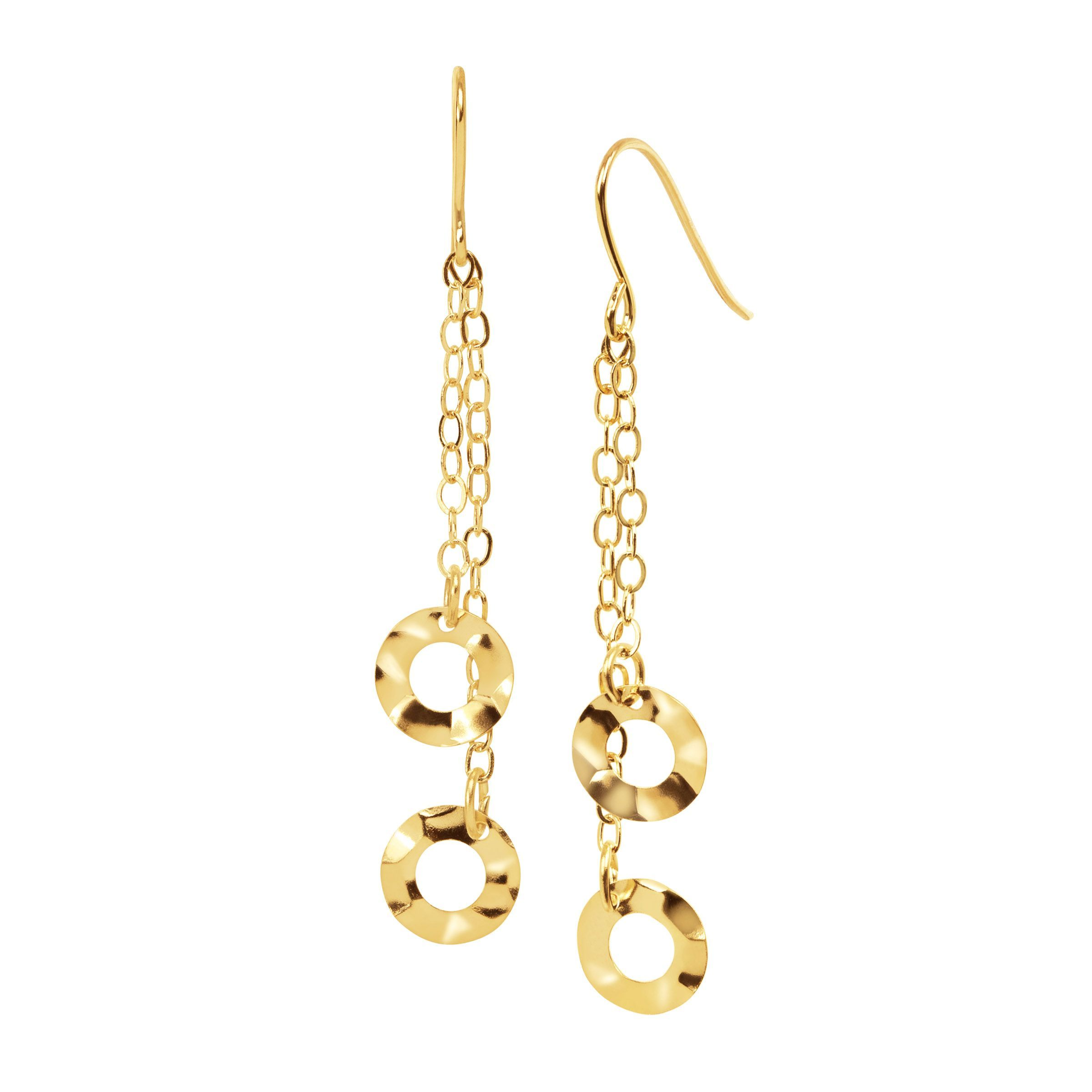 Eternity Gold Hammered Circle Chain Drop Earrings In 14k