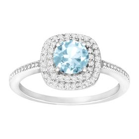1 1/4 ct Sky Blue Topaz & Cubic Zirconia Halo Ring
