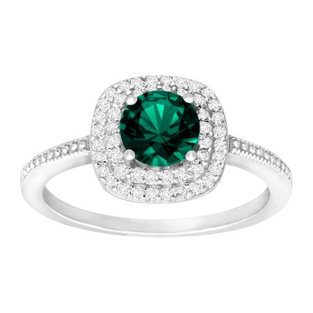 1 3/8 ct Emerald & Cubic Zirconia Halo Ring