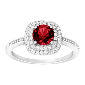 1 1/3 ct Ruby & Cubic Zirconia Halo Ring