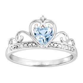 1/3 ct Sky Blue Topaz & Cubic Zirconia Crowned Heart Ring