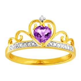 1/3 ct Amethyst & Cubic Zirconia Crowned Heart Ring
