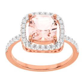 Morganite Ring with Cubic Zirconias