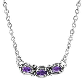 Simply Fabulous Amethyst Three-Stone Smile Necklace