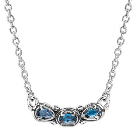 Simply Fabulous London Blue Topaz Three-Stone Smile Necklace
