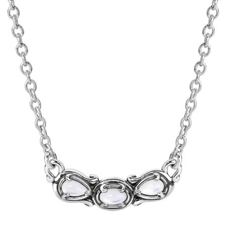 Simply Fabulous Mother-of-Pearl Three-Stone Smile Necklace