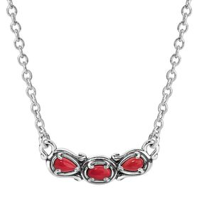 Simply Fabulous Coral Three-Stone Smile Necklace