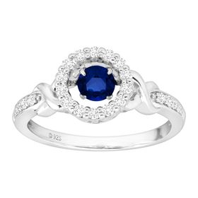 7/8 ct Blue & White Sapphire Floater Halo Ring