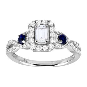 2 ct Cubic Zirconia & Sapphire Engagement Ring
