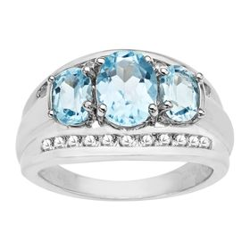 3 3/8 ct Sky Blue & Topaz Ring
