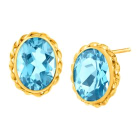 3 1/5 ct Swiss Blue Topaz Button Stud Earrings