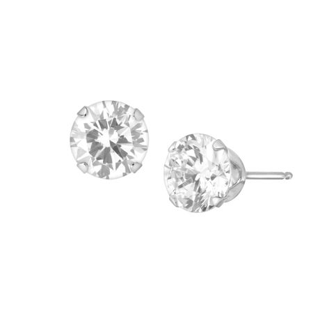 6.5 mm White Cubic Zirconia Studs