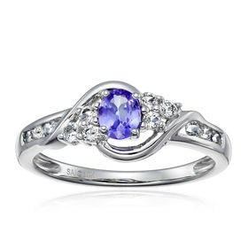 Oval Tanzanite & White Topaz Ring