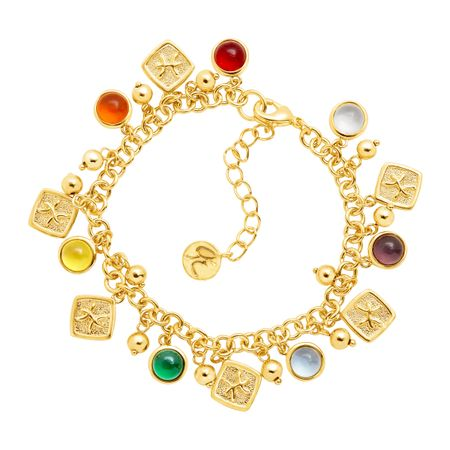Pisces Horoscope Charm Bracelet in 14K Gold-Plated Brass
