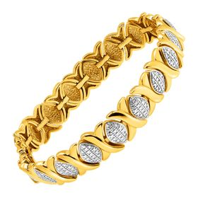 'XO' Two-Tone Link Bracelet with Diamond