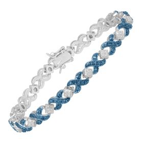 Tennis Bracelet with Blue Diamond