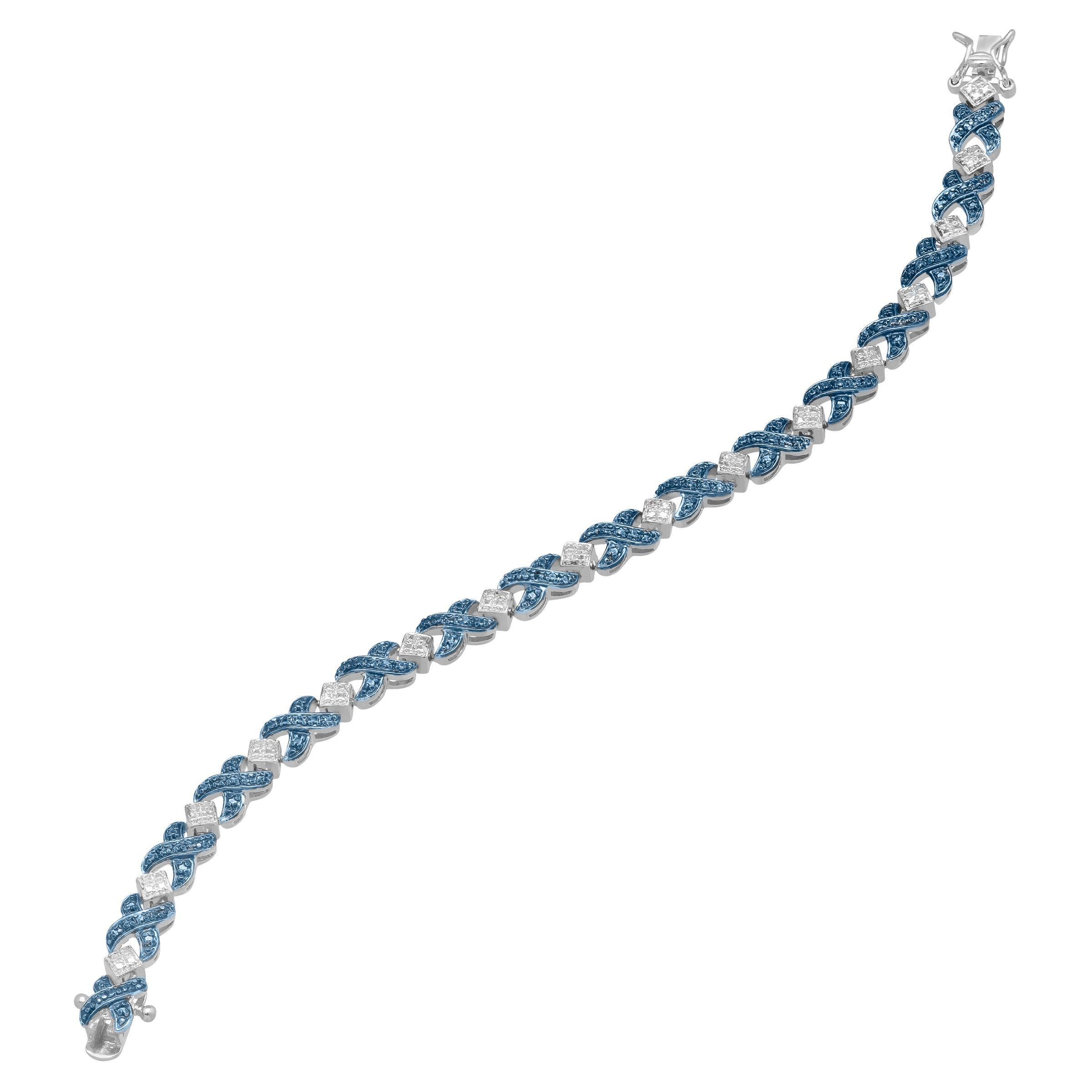 XOXO-Tennis-Bracelet-with-Blue-Diamond-in-Sterling-Silver-Plated-Brass-7-1-4-034 thumbnail 2