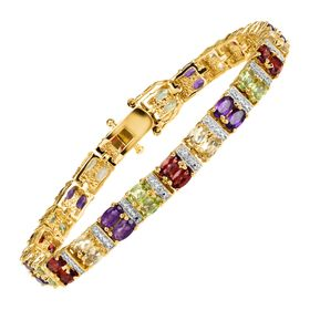 7 3/4 ct Multi-Stone Two-Row Bracelet with Diamond