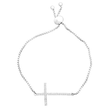 Sideways Cross Lasso Bracelet with Cubic Zirconia