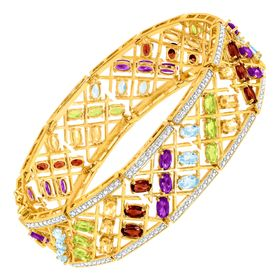 12 ct Multi Semi-Precious Stone Bracelet with Diamonds