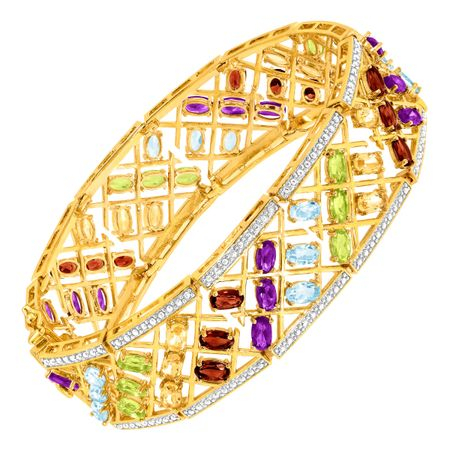 Multi Semi-Precious Stone Bracelet with Diamonds