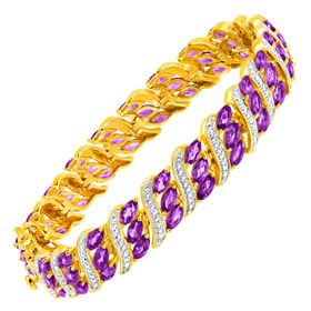 7 3/4 ct Amethyst Bracelet with Diamonds