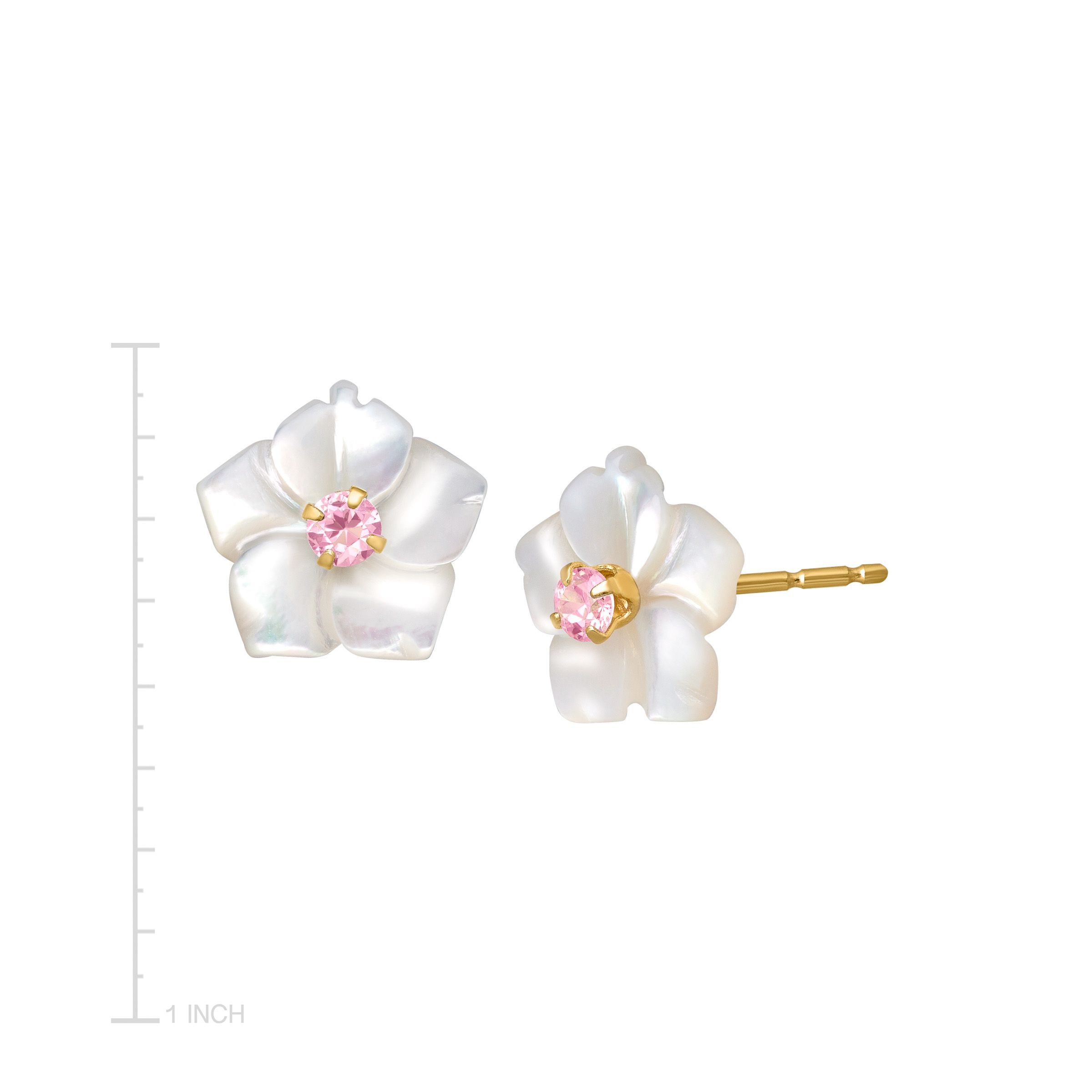 Details About Mother Of Pearl Flower Earrings With Pink Cubic Zirconia In 14k Gold