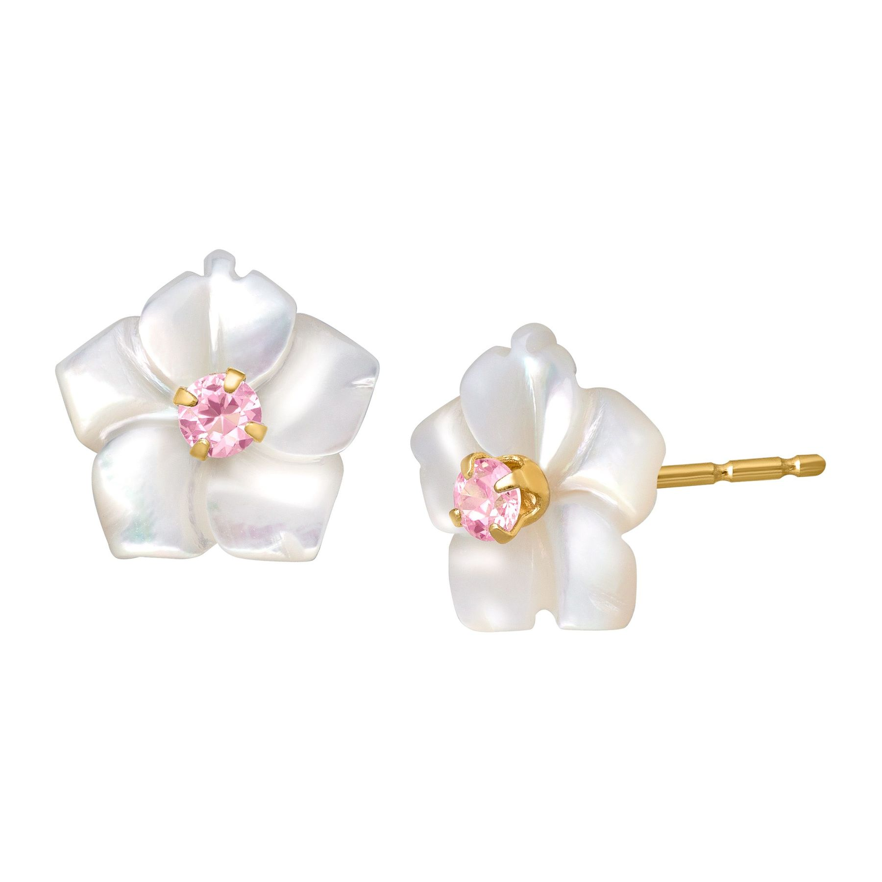 Mother Of Pearl Flower Earrings With Pink Cubic Zirconia In 14k Gold