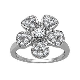 Flower Ring with Swarovski Crystal
