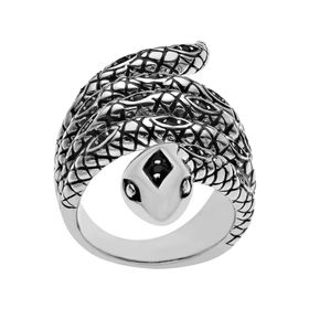Jet Crystal Snake Ring