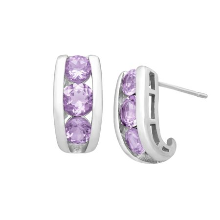 1 5/8 ct Amethyst Half-Hoop Earrings