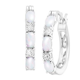 1 ct Opal Hoop Earrings with Diamonds