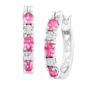2 1/10 ct Pink Sapphire Hoop Earrings with Diamonds