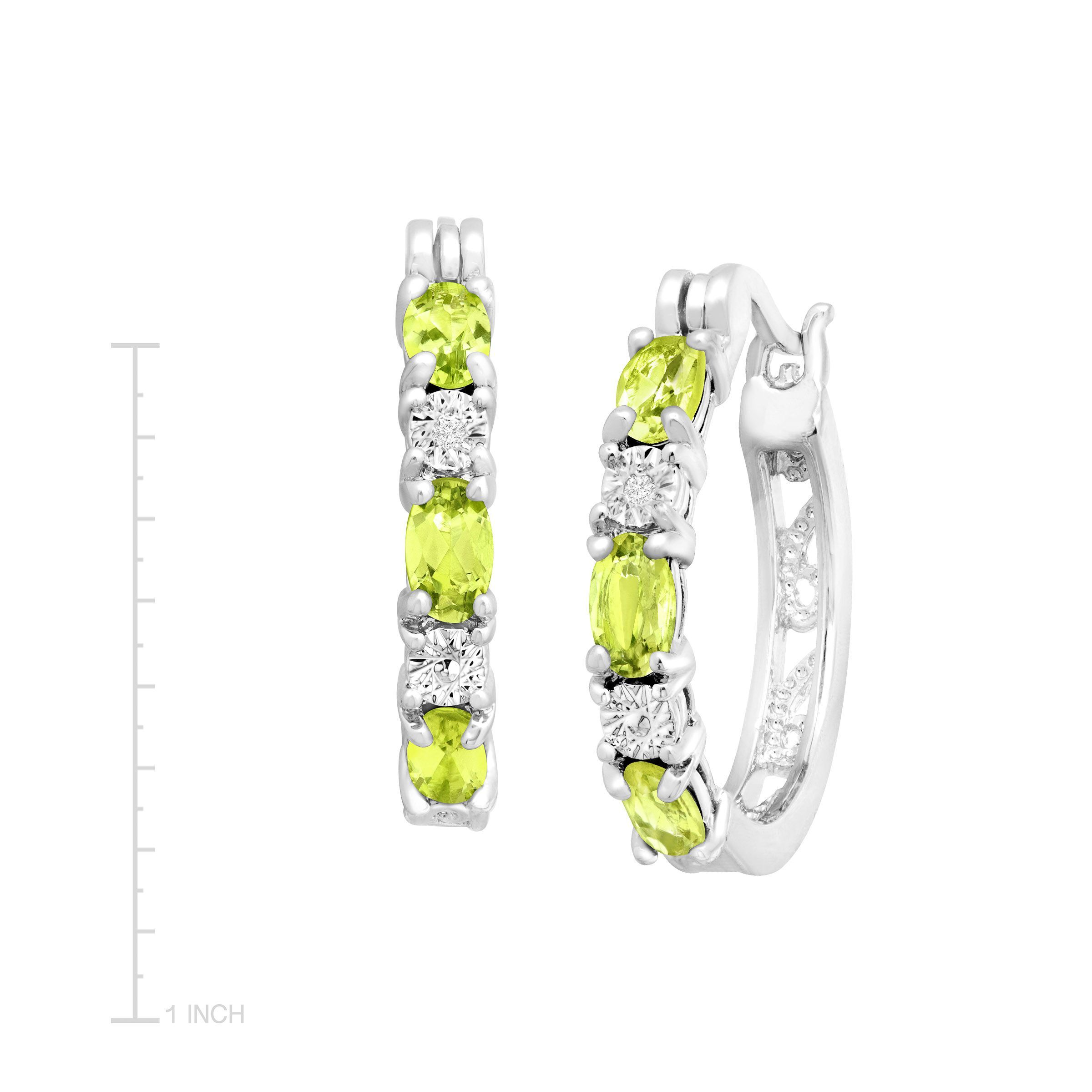 1 5 8 Ct Natural Peridot Hoop Earrings With Diamonds In Platinum Plated Br