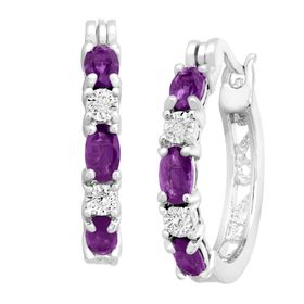 1 3/8 ct Amethyst Hoop Earrings with Diamonds