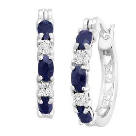 2 1/10 ct Sapphire Hoop Earrings with Diamonds