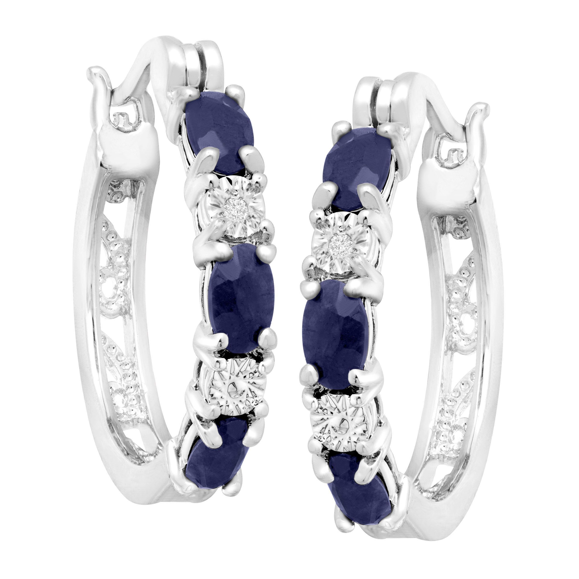2 1 10 ct Natural Sapphire Hoop Earrings with Diamonds in Platinum
