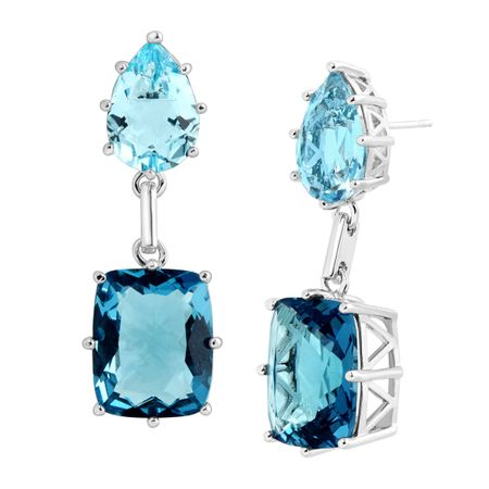 32 ct Sky Blue Topaz & Spinel Drop Earrings
