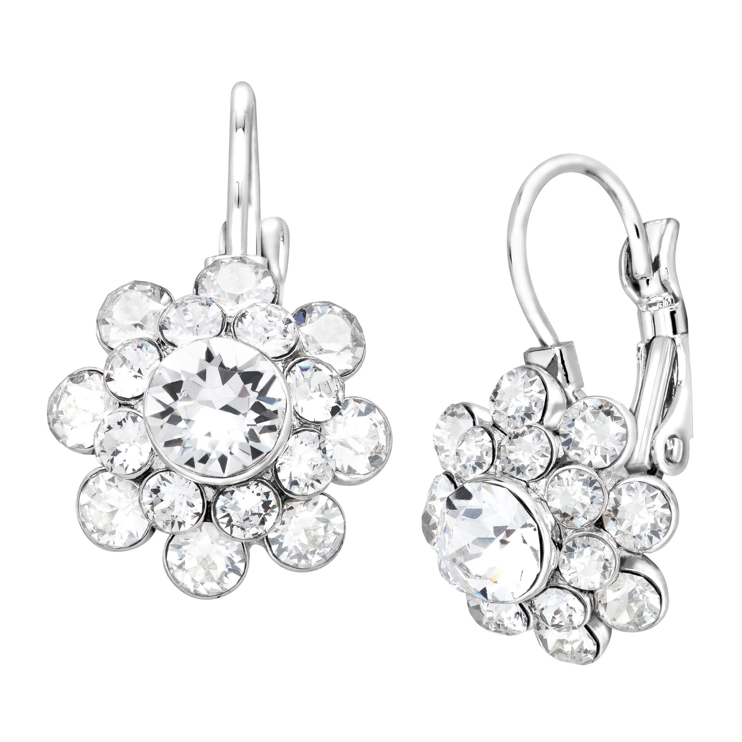 Crystaluxe Swarovski Crystal Sterling Silver Plated Br Flower Drop Earrings