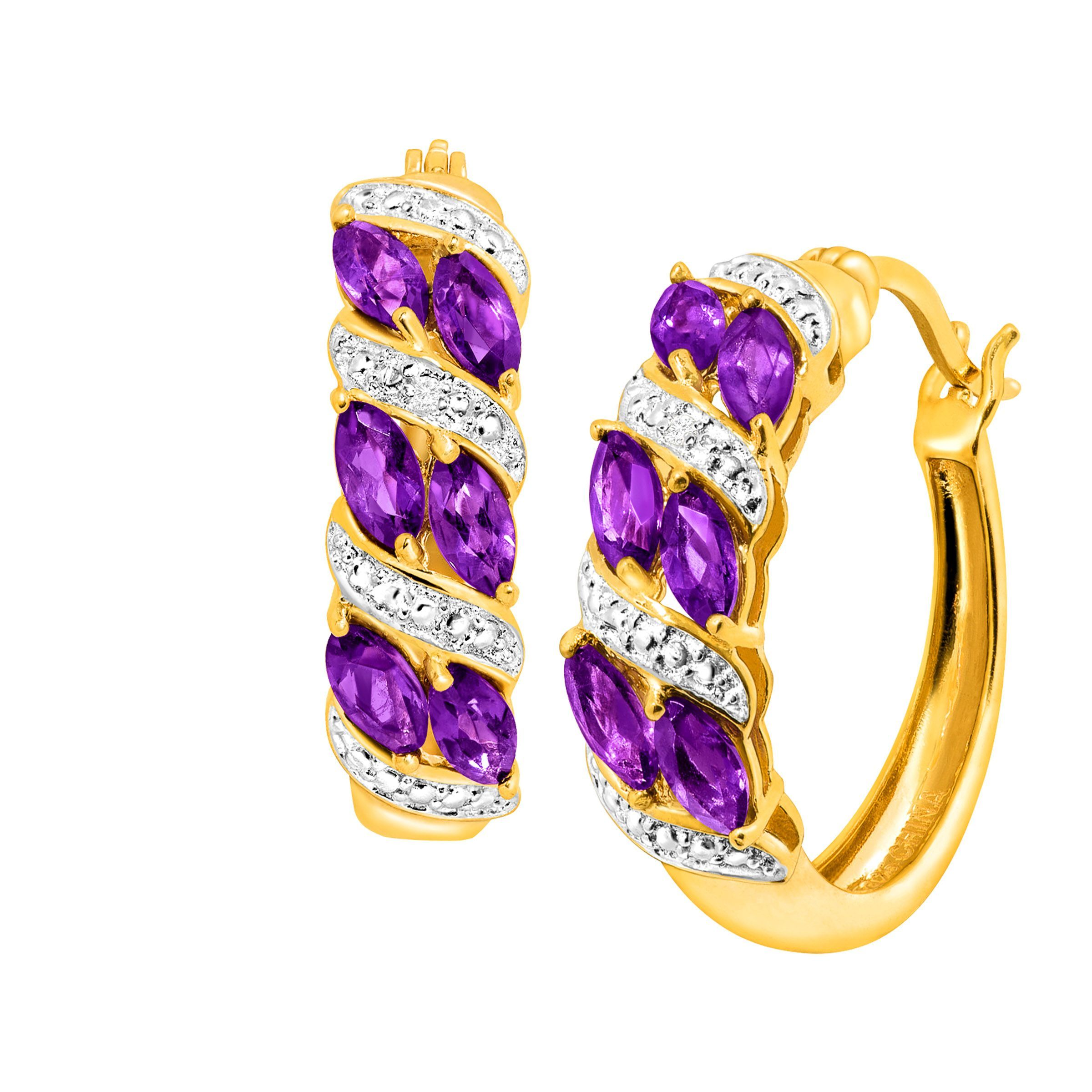 natural amethyst hoop earrings w diamonds 18k gold flashed. Black Bedroom Furniture Sets. Home Design Ideas