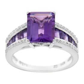 Emerald-Cut Amethyst & 1/4 ct Diamond Ring