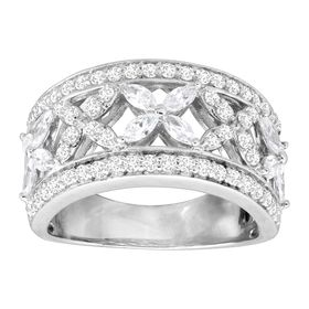Cubic Zirconia Floral 'X' Band Ring