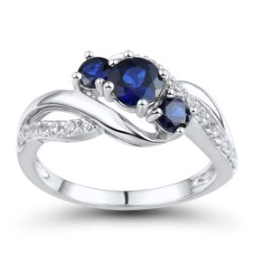 Blue & White Sapphire Bypass Ring