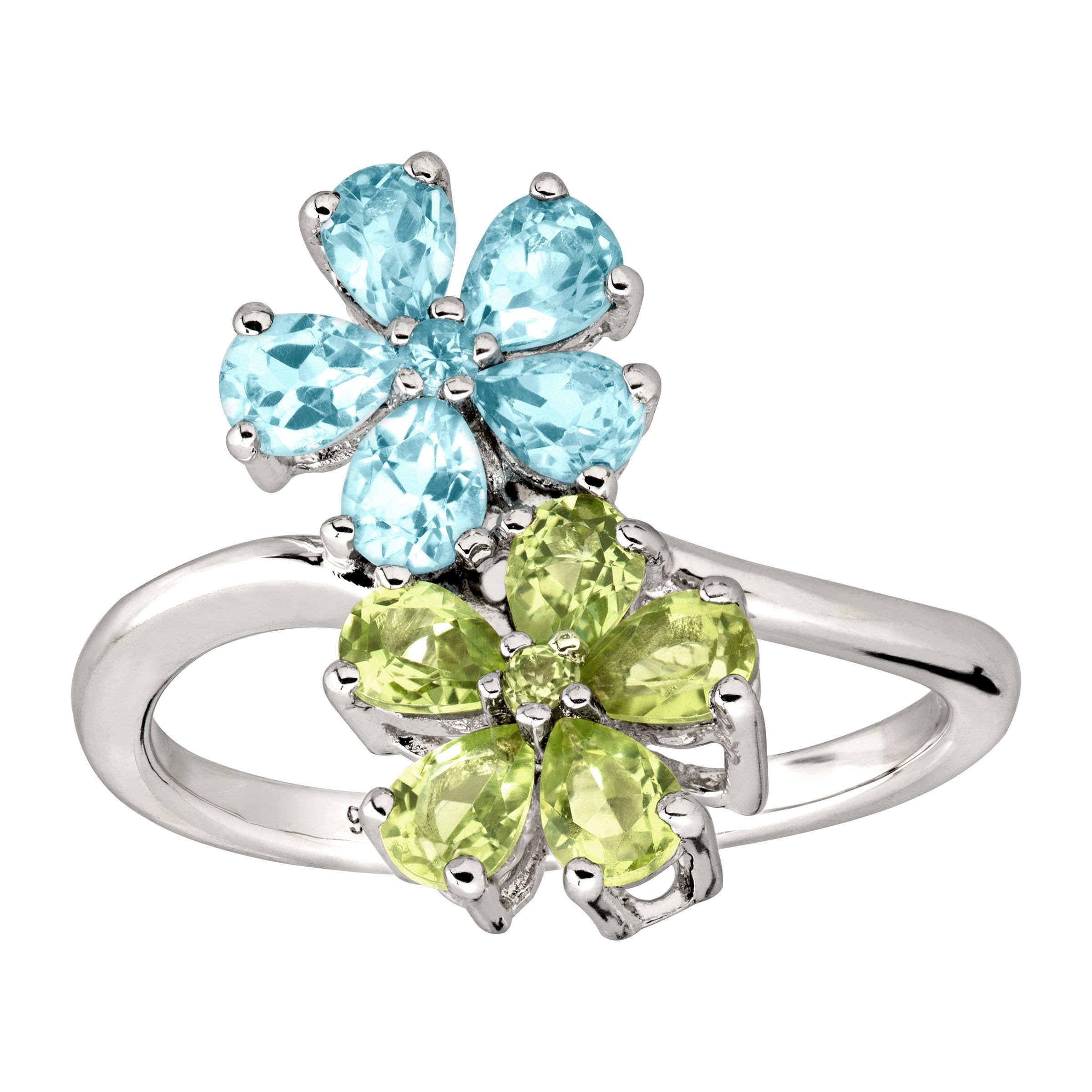 e24ed499ec5d1 Details about 2 ct Natural Swiss Blue Topaz & Peridot Flower Ring in  Rhodium Over Silver